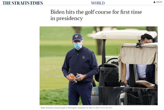 上任后首次挥杆:拜登突赴球场 展示高尔夫球技