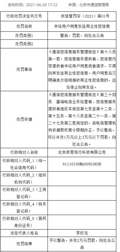 """北京市通信管理局:一公司""""未经用户同意发送商业性短信息""""被罚2万元"""