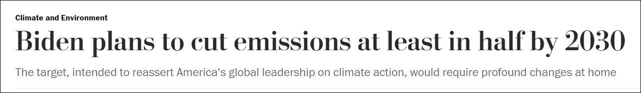 拜登计划宣布新目标:2030年碳排放量减半