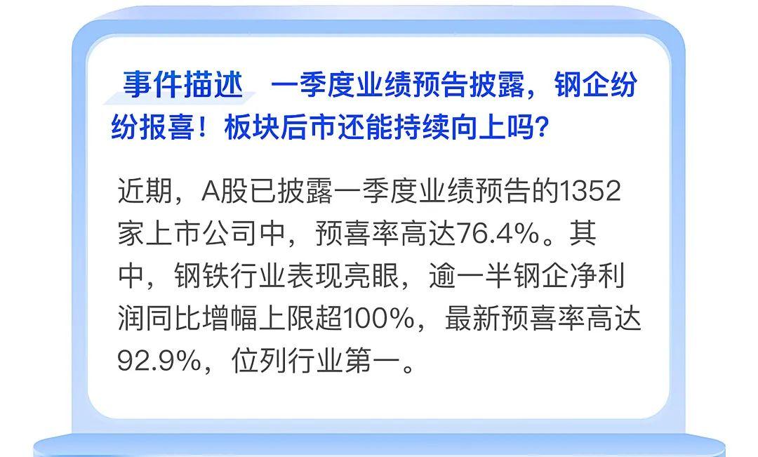 【热点翻译官】一季度业绩预告披露,钢企纷纷报喜!还能持续向上吗?