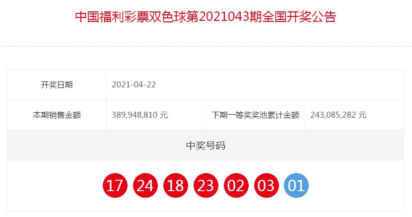 中国福利彩票双色球全国开奖公告(第2021043期)
