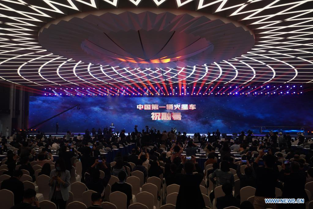 China National Space Administration (CNSA) announces the name of China's first Mars rover in Nanjing, east China's Jiangsu Province, April 24, 2021. China's first Mars rover has been named Zhurong, announced the CNSA on Saturday, China's Space Day. (Xinhua/Ji Chunpeng)