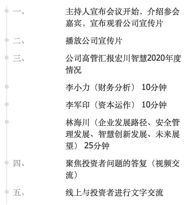 直播互动   4月28日宏川智慧2020年度业绩说明会
