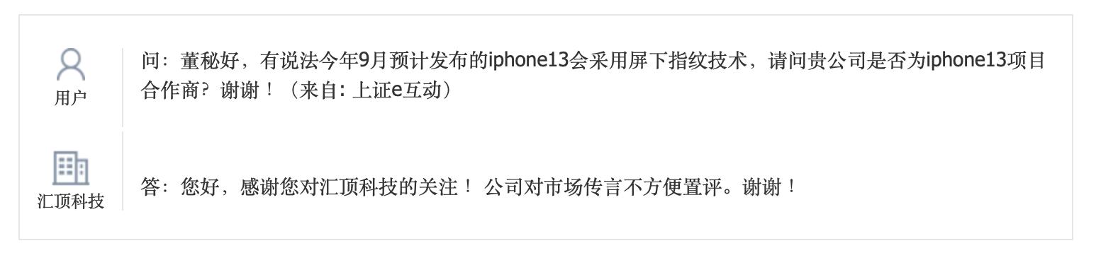汇顶回应iPhone 13用指纹识别传闻:不予置评