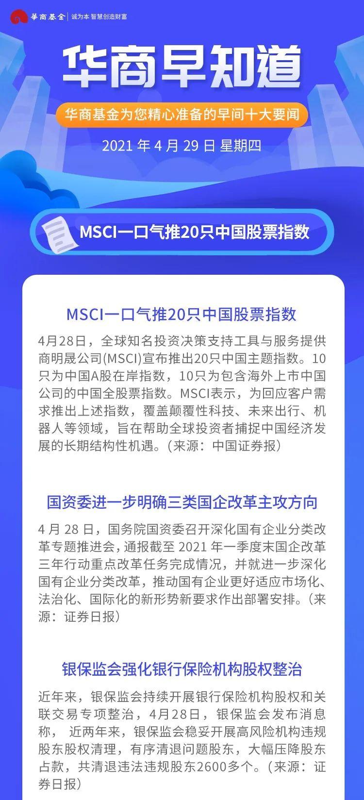 华商早知道 |  MSCI一口气推20只中国股票指数 助力外资捕捉中国机遇