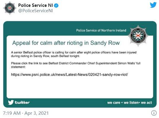 英国北爱尔兰首府贝尔法斯特爆发骚乱 8名警察受伤