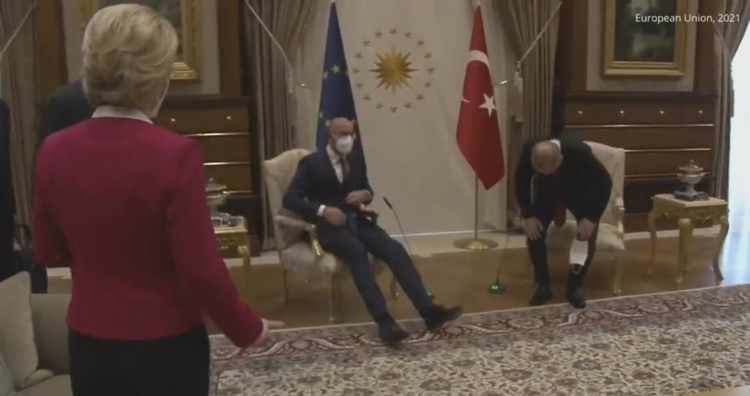 尴尬场面!欧盟委员会主席访土耳其没椅子坐