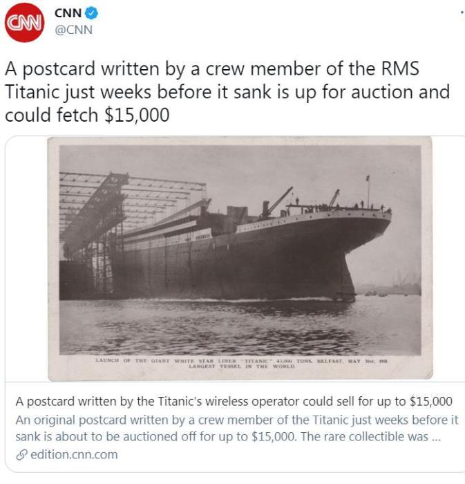 泰坦尼克号船员生前所寄明信片拍卖 估价1.5万美元