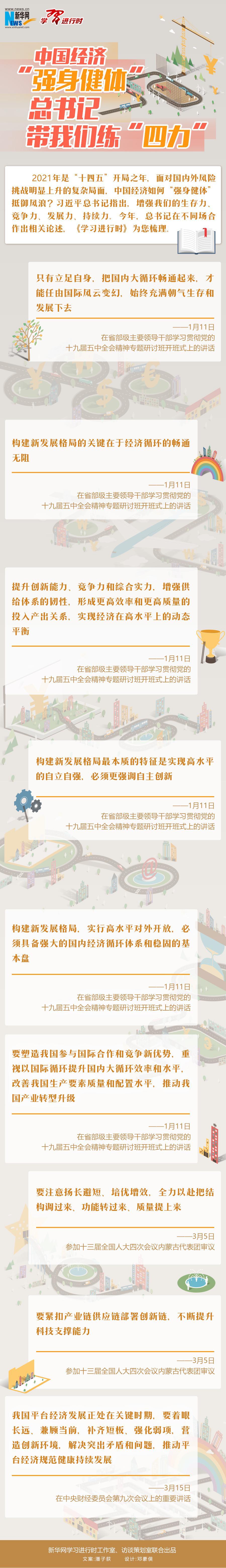 """中国经济""""强身健体"""" 习近平带我们练""""四力""""图片"""