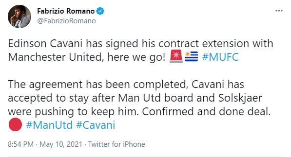罗马诺:卡瓦尼与曼联完成续约