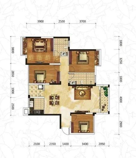 天誉花园小区121㎡装修,四房二厅二卫现代简约风格效果图案例鉴赏