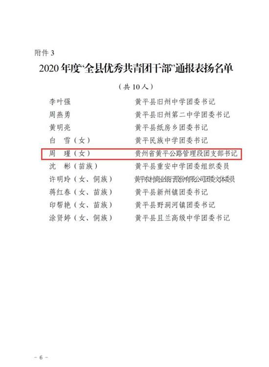 黄平公路管理段团支部书记周瑾被共青团黄平县委评选为2020年度全县优秀共青团干部