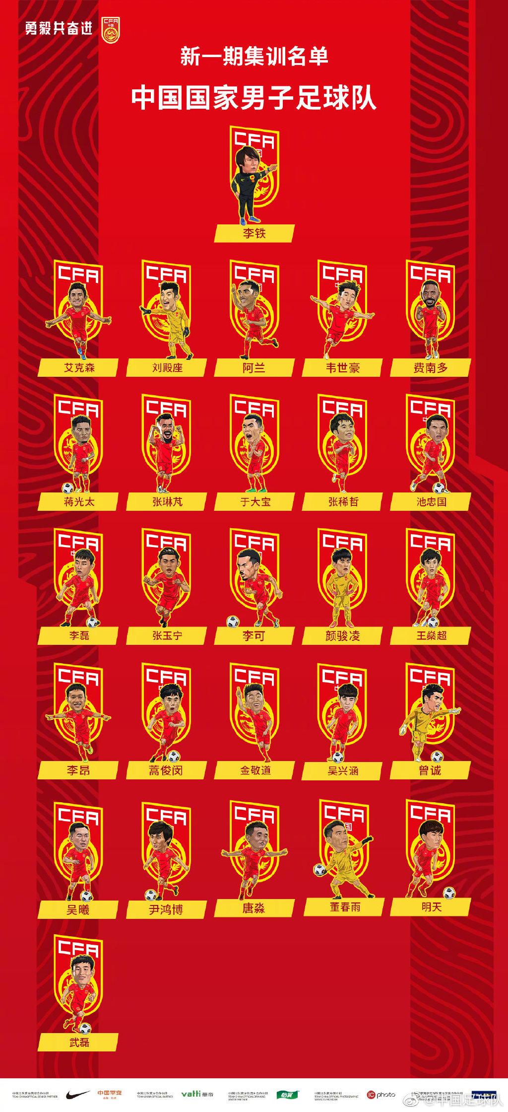 武磊回归国家队集训名单,五大入籍球员在列