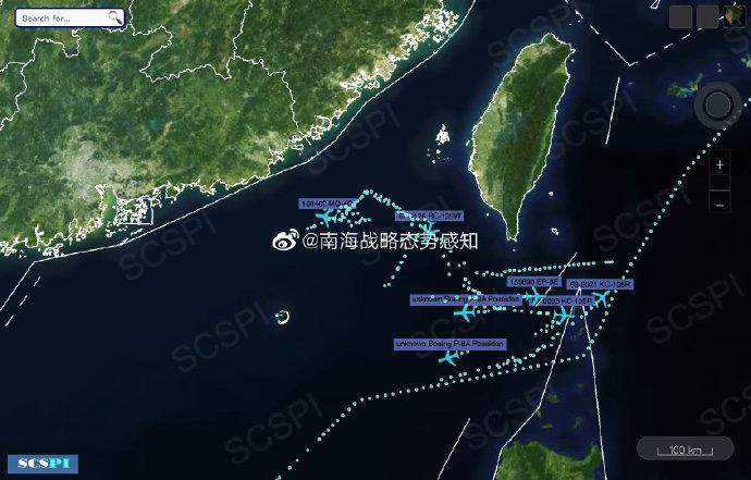 南海战略态势感知:美军机在台湾海峡南口高强度活动