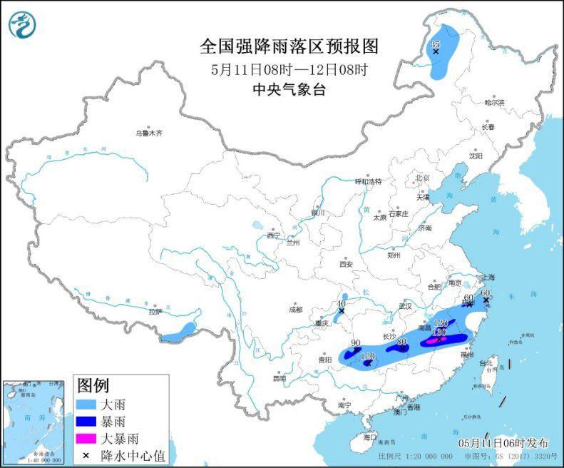 江南广西等地有较强降雨 贵州等地有强对流天气