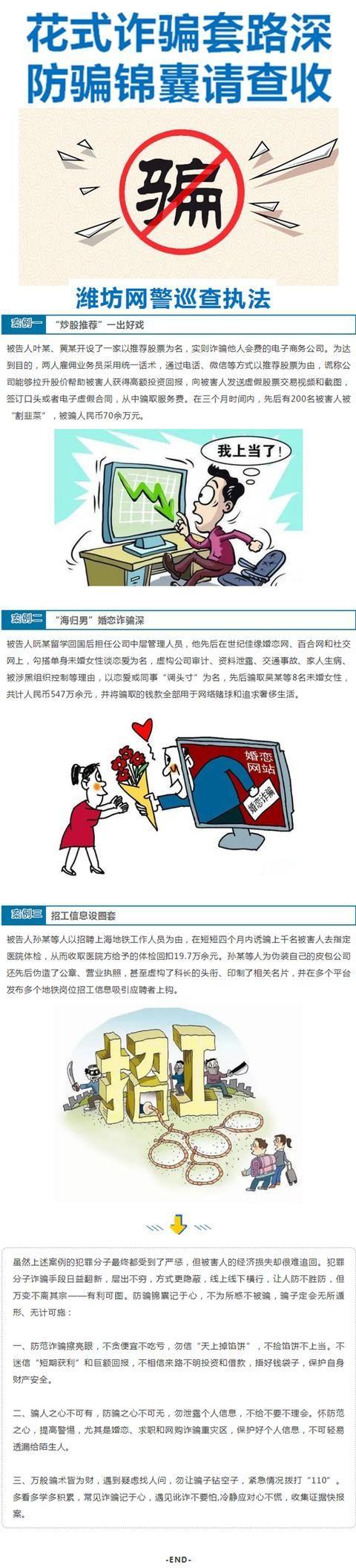 潍坊网警巡查执法:花式诈骗套路深,防骗锦囊请查收