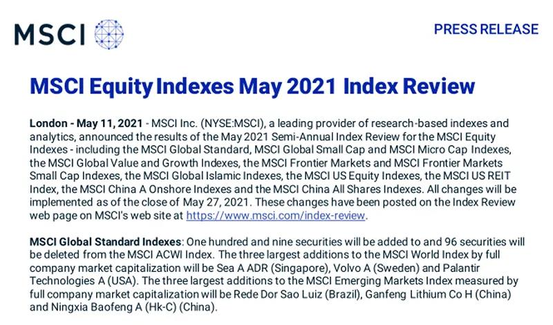 MSCI公布最新调整5只科创板股票进入旗舰指数系列