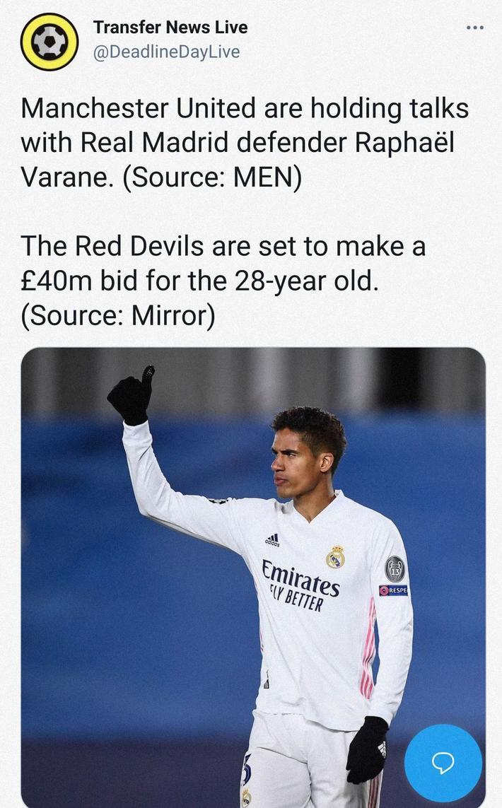镜报:曼联准备报价4600万欧元报价瓦拉内