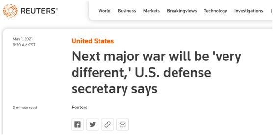 """美防长重要演讲,暴露""""下一场战争""""?!"""