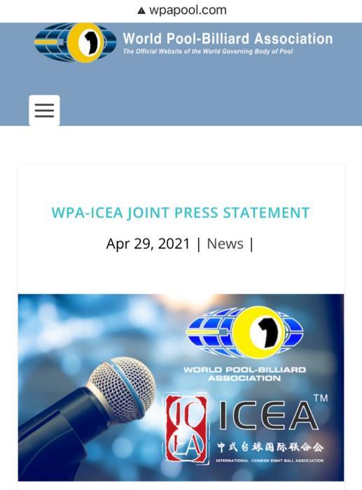 签约世界撞球协会 ICEA成推广中式台球唯一官方机构