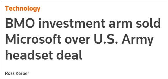 因向美军供应AR设备,微软股票被加拿大银行抛售