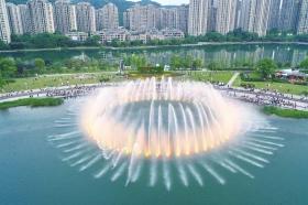"""梅溪湖音乐喷泉水面开出一朵""""睡莲"""""""