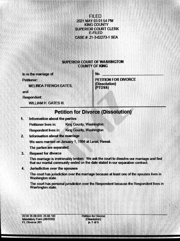 美媒曝盖茨离婚文件