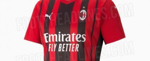 米兰下赛季主场球衣曝光,中间有黑色宽条纹