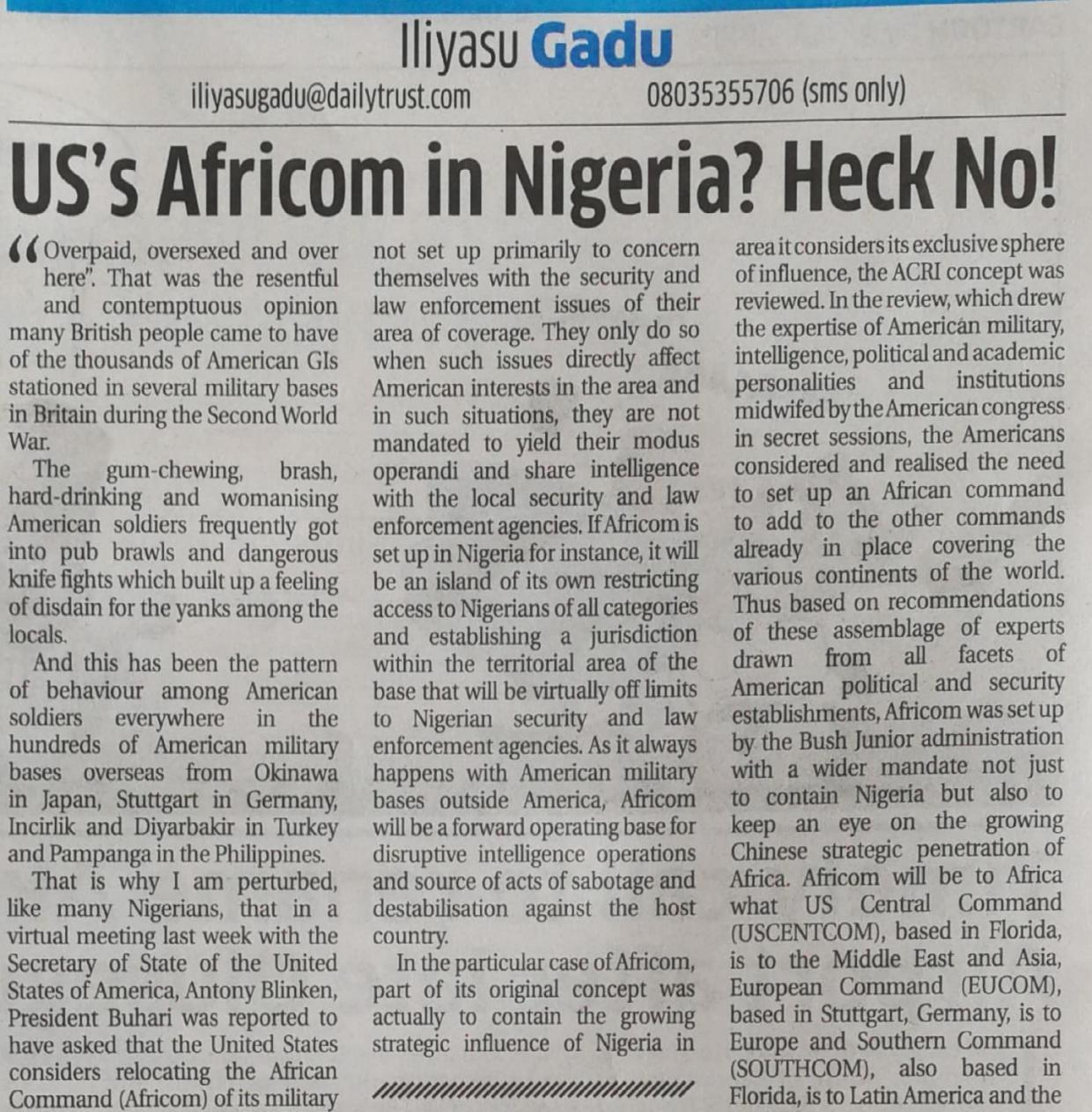 非洲观察丨邀请美军非洲司令部迁址非洲恐无异于引狼入室