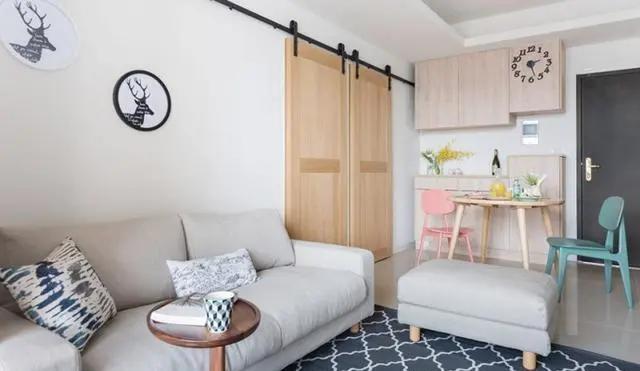 广州装修:小户型装修案例,简约而不简单,卧室的谷仓门估计很多人都见到过