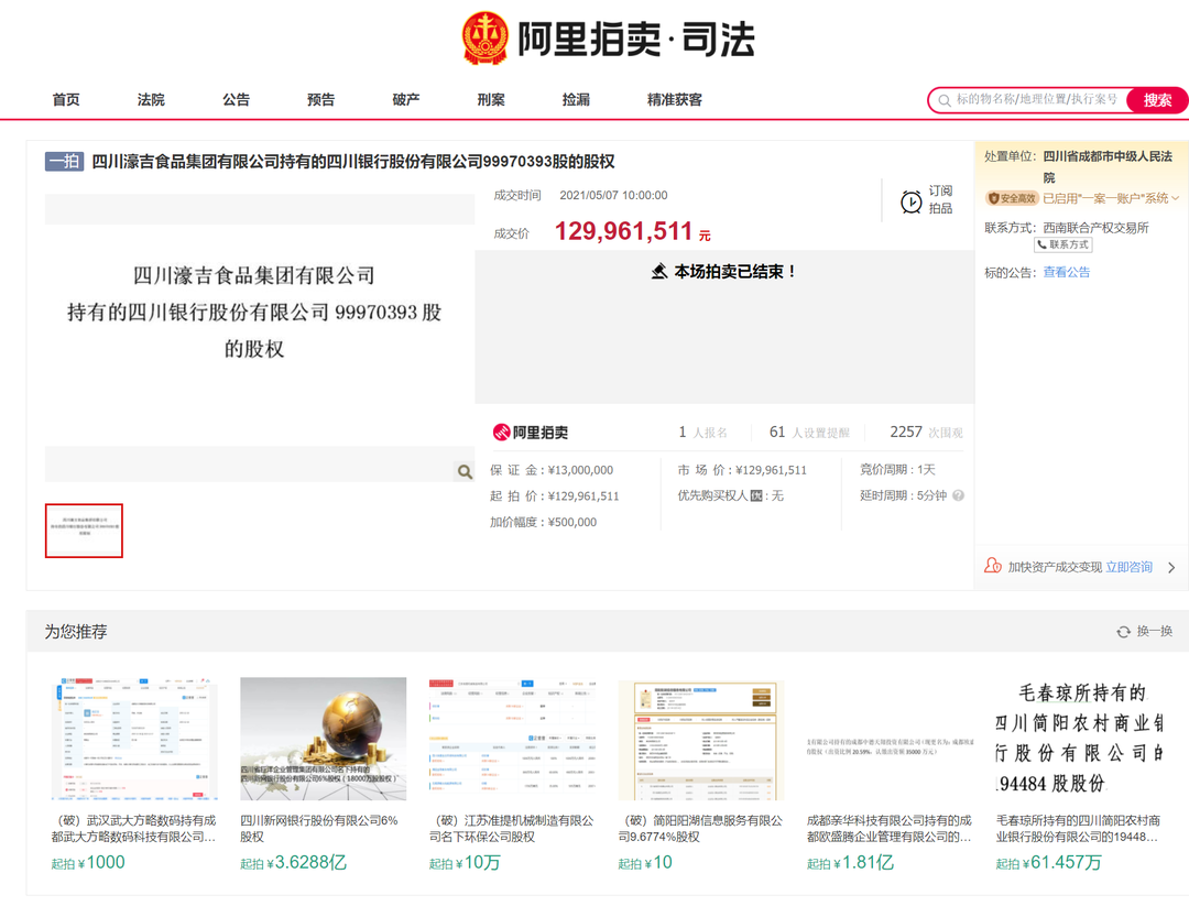 濠吉集团所持四川银行股权拍卖落定 国资1.3亿元接盘