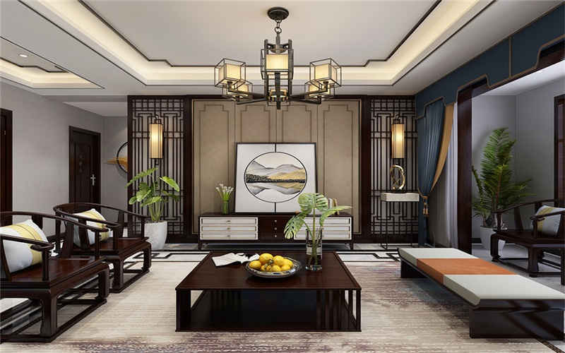迷人的新中式装修效果图,全屋真是美爆了,135㎡三居室,惊艳