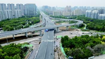 潍坊市区北海路通亭街立交桥项目主体已基本完工