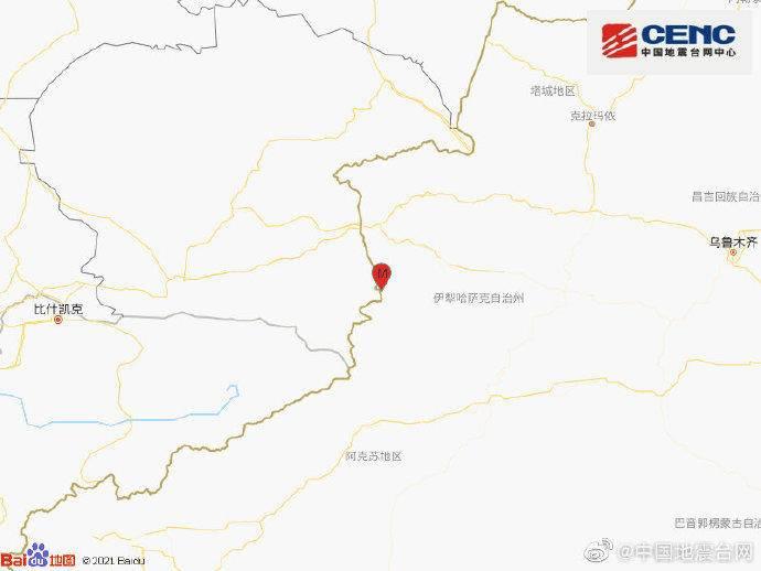 新疆伊犁州察布查尔县发生3.2级地震,震源深度10千米