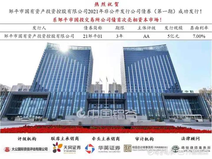 潍坊银行滨州邹平支行助力邹平市国投公司成功发行公司债券