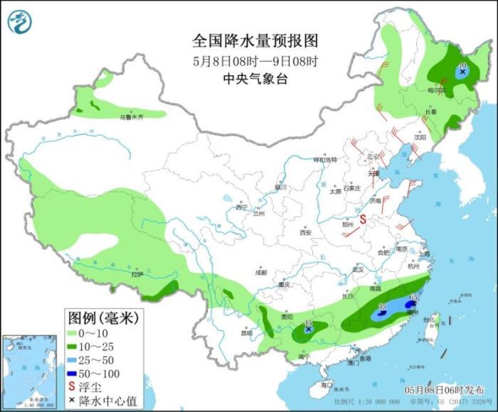 华北黄淮东北地区等地有大风贵州江南华南有中到大雨