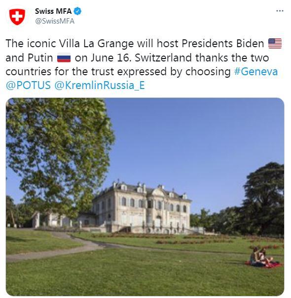 地点定了!俄美峰会将在瑞士拉格兰奇别墅举行