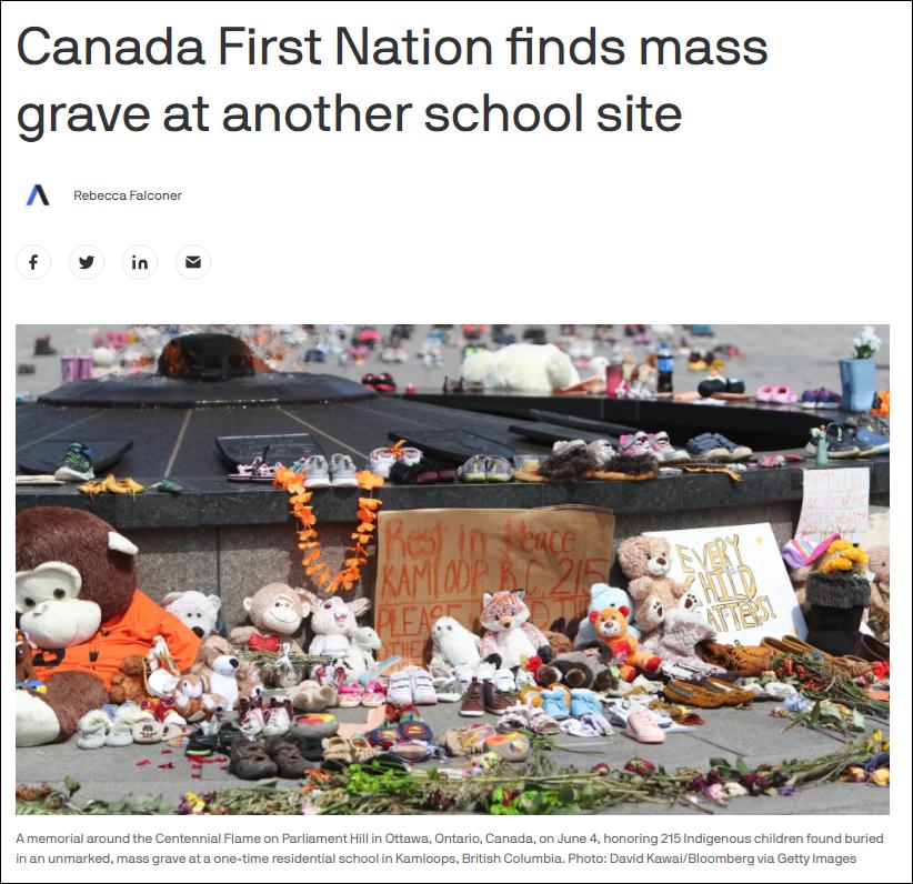 加拿大又发现原住民儿童无名坟墓,迄今为止数量最多