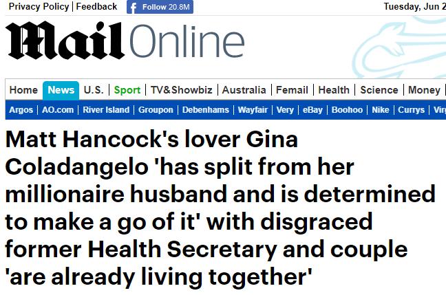 英政坛大丑闻情节更新:婚外情女主与丈夫分手了……
