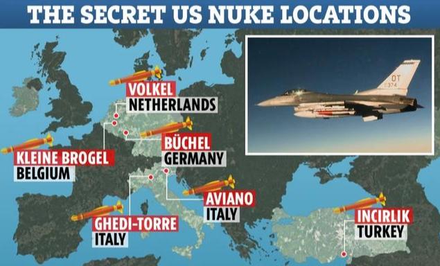 早前曝光的美国在欧洲摆设核兵器基职位置表示图