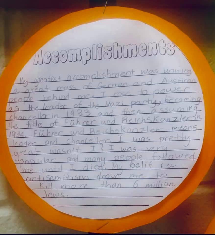 """:小学生写作业扮希特勒赞其""""成就"""" 美学校道歉调查"""