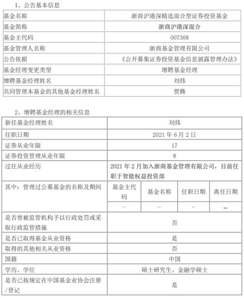 浙商沪港深混合增聘刘炜为基金经理 与贾腾共同管理