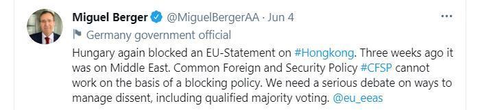 三度投下否决票 匈牙利政府拒跟随欧盟干涉中国内政
