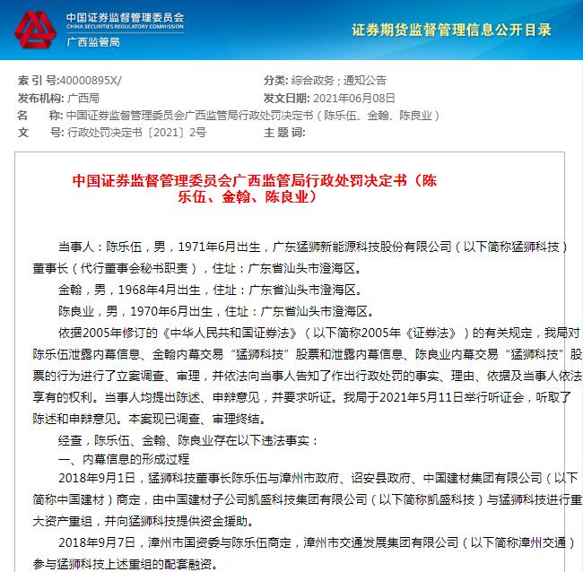 泄露内幕信息 广西证监局对*ST猛狮董事长陈乐伍罚款20万元
