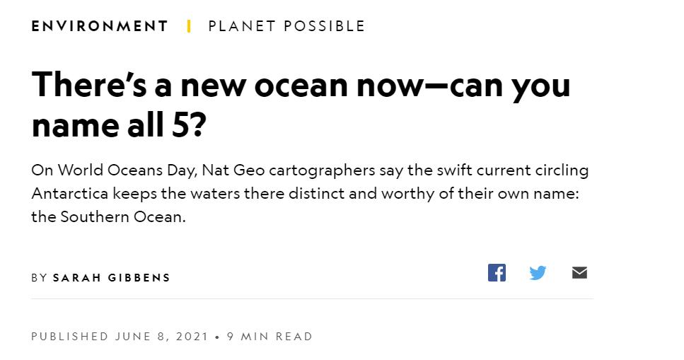 """世界地图要改:""""南大洋""""来了?!图片"""