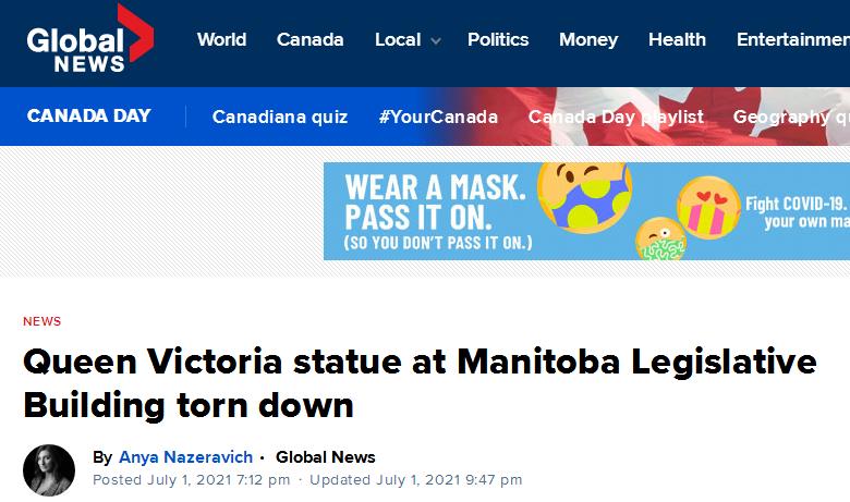 突发!抗议者推倒多处女王雕像