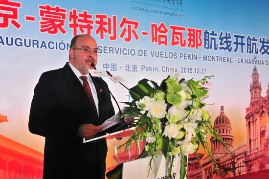 古巴驻中国大使白诗德致辞。王泽民摄