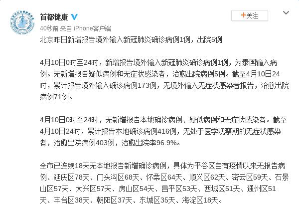 北京10日新增境外输入新冠肺炎确诊病例1例 出院5例图片