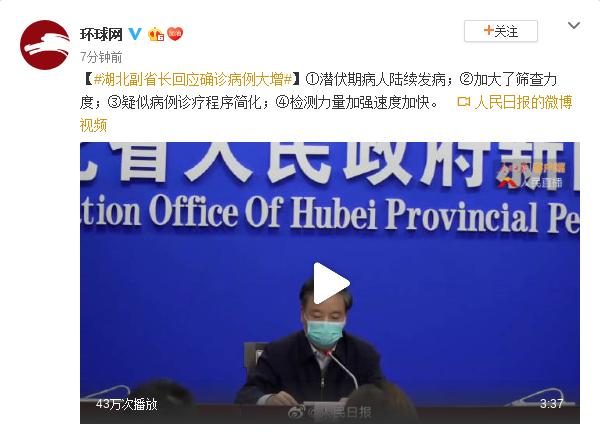 确诊病例大增 湖北副省长回应图片