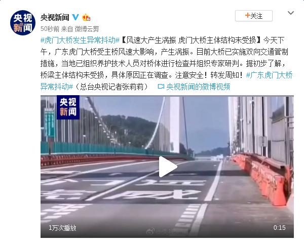 风速大产生涡振 虎门大桥主体结构未受损图片